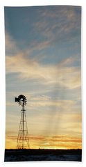 Hand Towel featuring the photograph Windmill At Sunset 06 by Rob Graham