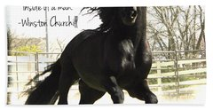 Winston Churchill Horse Quote Bath Towel