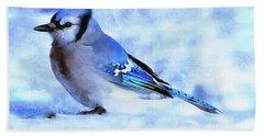 Winter Bluejay   ..digital Painting Hand Towel