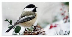 Winter Chickadee Bath Towel