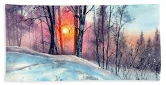 Winter Woodland In The Sun Hand Towel