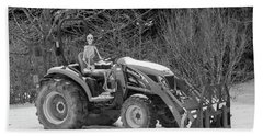 Wintry Country Skeleton On Tractor Hand Towel