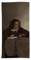 Woman Counting Coins Bath Towel