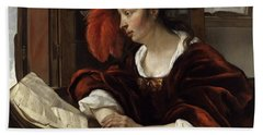 Woman Reading A Book By A Window Hand Towel