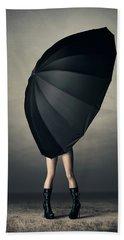 Woman With Huge Umbrella Bath Towel