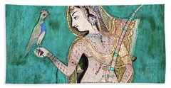 Woman With Parrot Hand Towel