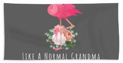 Womens Grammingo Like An Grandma Only Awesome Floral Flamingo Gift T-shirt Hand Towel