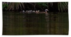 Wood Duck And Ducklings Hand Towel