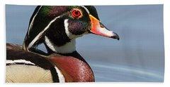 Wood Duck Portrait Bath Towel