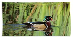 Wood Duck Reflection 2 Hand Towel