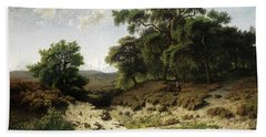 Wooded Landscape With Watercourse And Staffage Figures Hand Towel