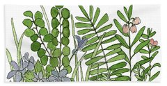 Woodland Ferns Violets Nature Illustration Bath Towel