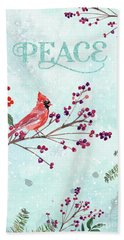 Woodland Holiday Peace Art Hand Towel