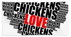 Wordcloud Love Chickens Black Bath Towel