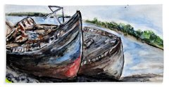Wrecked River Boats Hand Towel
