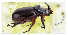 X Is For Xylotrupes Ulysses  Aka Rhinoceros Beetle Hand Towel