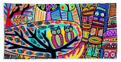 Owl Lovebirds In Totem Pole Forest Hand Towel