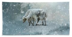 Yaks Calves In A Snowstorm Bath Towel