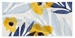 Yellow And Navy 2- Floral Art By Linda Woods Bath Towel