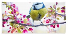 Yellow Blue Bird With Flowers Hand Towel