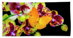 Yellow Butterfly On Yellow Orchids Hand Towel