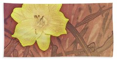 Yellow Day Lily Stencil On Sandstone Hand Towel