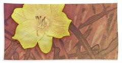 Yellow Day Lily Stencil On Sandstone Bath Towel