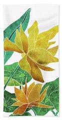 Yellow Lotus Flower - Botanical, Floral, Tropical Art - Modern, Minimal Decor - Yellow, Green Hand Towel
