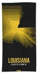 Yellow Map Of Louisiana Bath Towel