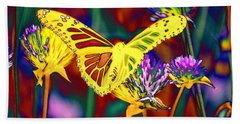 Yellow Monarch Butterfly Hand Towel