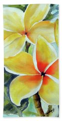 Yellow Plumeria Bath Towel