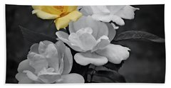 Yellow Rose Cluster Partial Color Bath Towel