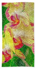 Yellow/rouge Orchids Hand Towel