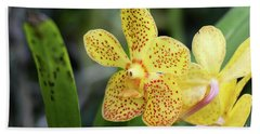 Yellow Spotted Orchids Hand Towel