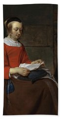 Young Woman Seated In An Interior, Reading A Letter Hand Towel