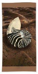 Zebra Nautilus Shell On The Sand Hand Towel