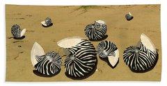 Zebra Nautilus Shells On The Beach  Hand Towel