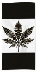 Zebra Pattern Marijuana Leaf 2 Bath Towel
