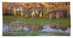 Zebras In Botswana Hand Towel