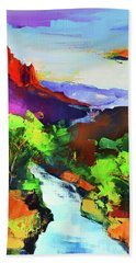 Zion - The Watchman And The Virgin River Bath Towel