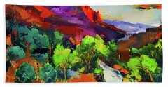 Zion - The Watchman And The Virgin River Vista Bath Towel