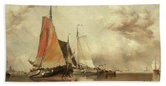 Zuyder Zee, Fishing Craft In A Calm Hand Towel