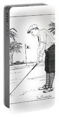 Portable Battery Charger featuring the drawing  1920's Vintage Golfer by Ira Shander