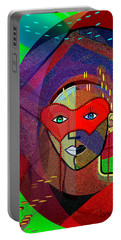 394 - Challenging Woman With Mask Portable Battery Charger by Irmgard Schoendorf Welch