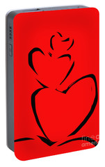 Portable Battery Charger featuring the painting  A Stack Of Hearts by Go Van Kampen