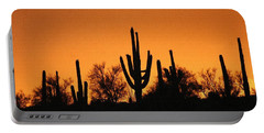 Arizona Sagurao Sunset Portable Battery Charger by Tom Janca