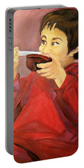 Portable Battery Charger featuring the painting  Asian  Doll by Sharon Duguay