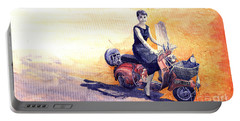 Audrey Hepburn And Vespa In Roma Holidey  Portable Battery Charger