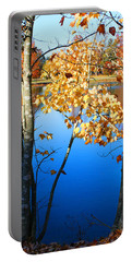 Autumn Trees On The Lake Portable Battery Charger by Lesa Fine
