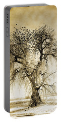 Bird Tree Fine Art  Mono Tone And Textured Portable Battery Charger